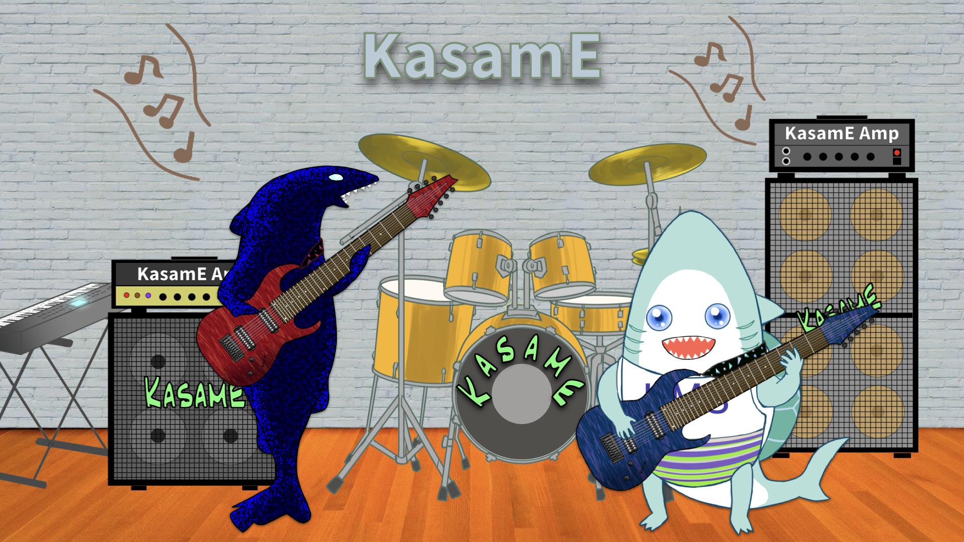 カサメミュージックスクール多弦ギター科、教室風景イラスト