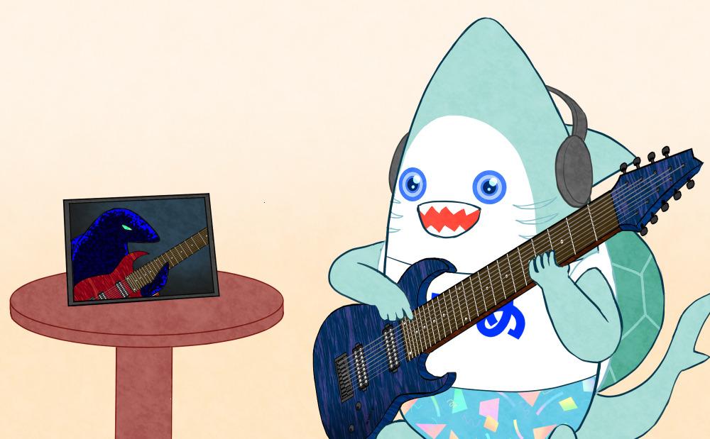 カサメミュージックスクール多弦ギター科、オンラインレッスンイラスト